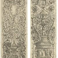 3. zoan andrea & giovanni pietro da birago | three children blowing horns; a triton and two infant satyrs(bartsch 28,24)