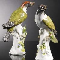 7. two meissen figures of green woodpeckers circa 1734-40