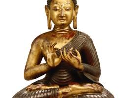 3630. 清乾隆 御製局部漆金銅喀什米爾式釋迦牟尼佛坐像 |
