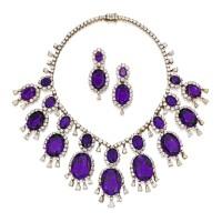 29. 18k黃金鑲紫水晶配鑽石項鏈一條及耳環一對, 梵克雅寶(van cleef & arpels)