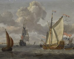 110. abraham storck   shippingon the ij, with a view ofamsterdam beyond