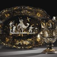 4. aiguière et son bassin en piqué d'écaille incrustée d'or et de nacre,naples, première moitié du xviiie siècle