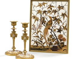 45. théodore duvinage and maison alphonse girouxa pair of candlesticks together with a gilt-bronze, wood and ivory blotter  