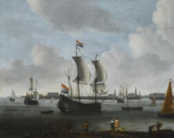 147. hendrik van minderhout   aharbour scenewith a large flute, a small cargo ship, a kaag and other shipping moored, with an elegant couple and other figures in the foreground