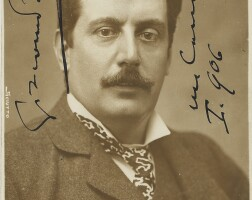 203. puccini, giacomo. fine postcard photograph signed and inscribed