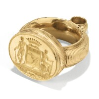 165. a french gold pendant shaped as a ring engraved with count coat-of-arms, circa 1860 | a french gold pendant shaped as a ring engraved with count coat-of-arms, circa 1860