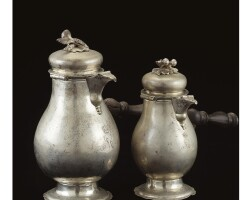 18. a pair of royal german silver coffee pots in sizes, johann christoph engelbrecht, augsburg, 1763-65