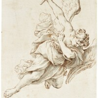 324. marcantonio franceschini | study of an angel flying to the right holding a torch