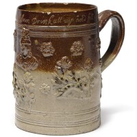 610. a london brown stoneware dated large tankard 1721 |