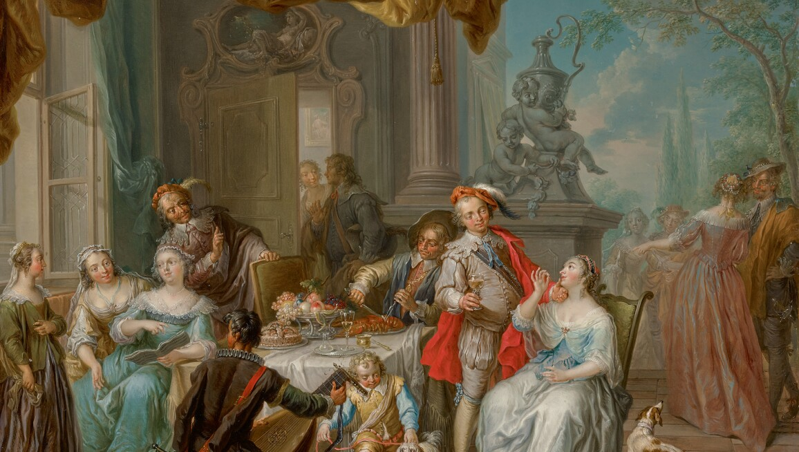 An Austrian Rococo painting of a fête galante with music, a feast and many opulently clad men and women.