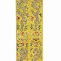 139. 清十八世紀 黄地緞繡雲龍戲珠紋旗