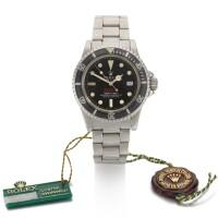 207. 勞力士(rolex) | 1665型號「double red' sea-dweller」鍊帶腕錶備排氦閥及日期顯示,年份約1977。