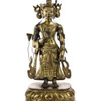 31. grande statuette de bodhisattva en bronze doré et repoussé dynastie qing, xviiie - xixe siècle  