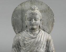 1301. a grey schist bust of buddha ancient region of gandhara, kushan period, 2nd / 3rd century