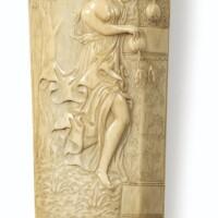 89. râpe à tabac en ivoire sculpté,travail dieppois du xviiie siècle