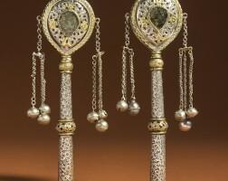 9. a pair of moroccan parcel-gilt silver torah finials, 19th century |