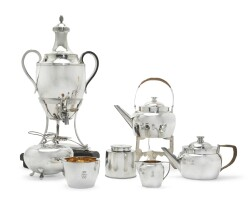 28. a dutch silver two-handle tea urn, cover, and stand, maker's mark lost, circa 1890