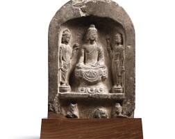 3015. a rare limestone 'buddhist triad' stele tang dynasty  