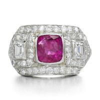 29. ruby and diamond ring, mid 20th century