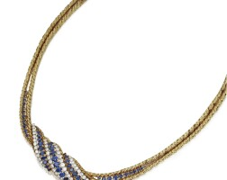 118. 18 karat gold, sapphire and diamond necklace, gübelin