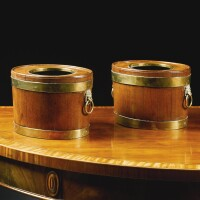 301. a pair of regency brass boundmahogany bottle coolers circa 1810