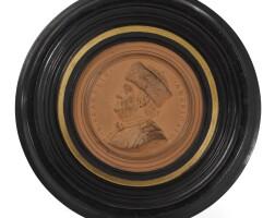 305. a french terracotta portrait medallion of benjamin franklin (1706-1790) by jean-baptiste nini (1717-1786) 1777