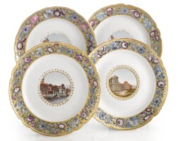 31. a set of four russian porcelain plates from the cabinet service, imperial porcelain manufactory, st. petersburg, periods of catherine ii (1762-1796) and paul i (1796-1801)