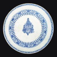 32. a monumental safavid blue and white pottery dish, persia, probably kirman, 17th century