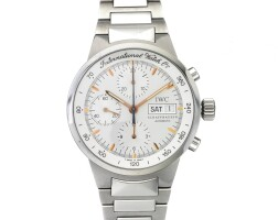8. iwc | a stainless steel automatic chronograph wristwatch with day, date and bracelet circa 2001