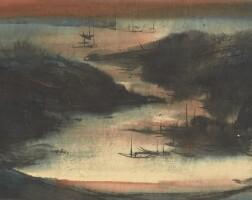 1467. 呂壽琨 日落香港仔   設色紙本 鏡框 一九六一年作