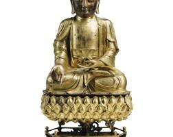 28. grande statuette de bhaishajyaguruen bronze doré dynastie ming, xvie- xviie siècle  