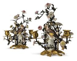 135. a pair of louis xv meissen porcelain, tôle peinte, and ormolutwo light candelabra circa 1760