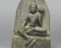 1311. a phyllite stele depicting khasarpanalokeshvara india, pala period, 10th century
