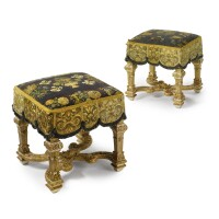 27. a pair of louis xiv parcel-gilt, white-painted and carved tabourets circa 1700