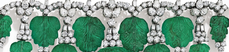 Bulgari emerald and diamond necklace in an auction selling Bulgari jewelry