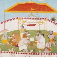 843. an illustration to the bhagavata purana: king mahabali offers respect to vamana