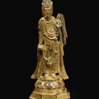 322. 隋 / 唐初 銅鎏金觀音立像  