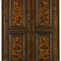 309. a qajar lacquered and mirrored window frame, persia, 19th century