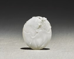 220. a white jade 'carp and lotus' pendant19th / 20th century  