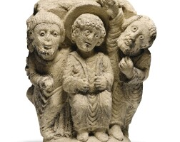 102. french, probably northern burgundy, first half 12th century | stone capital depicting christ among the doctors