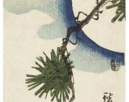 19. utagawa hiroshige i (1797–1858)cuckoo and pine tree with full moon (matsu ni hototogisu) edo period, 19th century | cuckoo and pine tree with full moon (mangetu ni matu to hototogisu), edo period, circa 1844