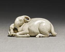 218. a 'chicken bone' jade 'ram' group qing dynasty, 18th century  