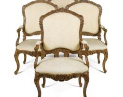 11. a set of four italian carved walnut armchairs, piedmontese, turin mid 18th century
