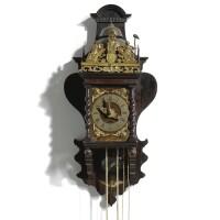 6. a dutch rosewood quarter striking alarm 'zaanse' wall clock, c. van rossen