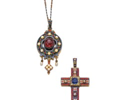 8. garnet, seed pearl and enamel pendant, and an enamel, sapphire and diamond pendant, mid 19th century