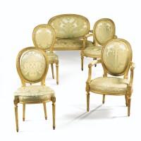 140. mobilier de salon en bois sculpté et doré d'époque louis xvi, estampillé g iacob, vers 1775
