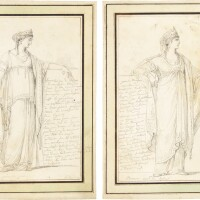 344. french school, late 18th century | two studies of classical female figures, possibly costume designs for the theatre:a) monimeb) berenice
