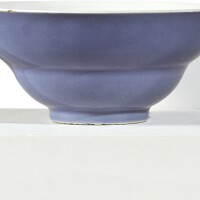 1040. a 'clair-de-lune'-glazed ogee-form bowl qianlong seal mark and period |