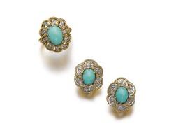 505. turquoise and diamond demi-parure