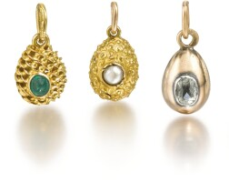 317. a group of five jewelled gold egg pendants, late 19th and early 20th centuries